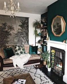 moody living room vibes // green accent wall // geometric gold mirror // white a., - moody living room vibes // green accent wall // geometric gold mirror // white a…, Moody Living Room, Cheap Home Decor, Living Room Green, Living Room Designs, Living Decor, Green Accent Walls, Rooms Home Decor, House Interior, Room Decor