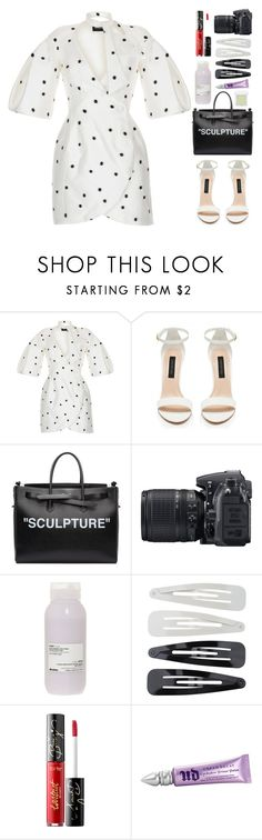 """""""An Infinite Speck"""" by finding-0riginality ❤ liked on Polyvore featuring Rasario, Forever New, Off-White, Nikon, Davines, Forever 21, tarte, Urban Decay and RMK"""
