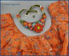 2 Good Claymates: Floral Collar Necklace to match blouse