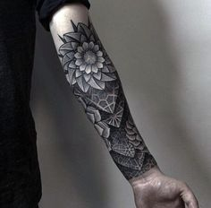 Geometric 3d Half Forearm Guys Sleeve Tattoo