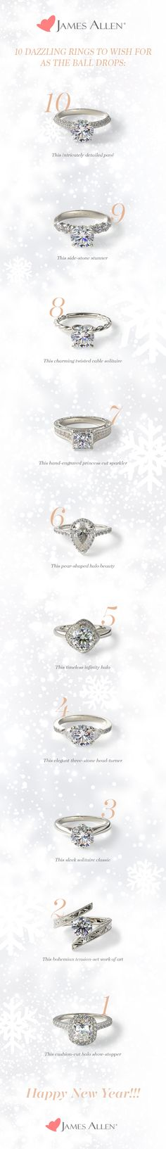 Dazzling engagement rings for every style. Design your dream engagement ring and make 2016 the best year yet! Which of these beauties will you be wishing for as the clock strikes midnight? Dream Engagement Rings, Wedding Engagement, Wedding Bands, Perfect Wedding, Dream Wedding, Wedding Day, James Allen Rings, Wedding Goals, Here Comes The Bride
