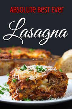 Absolute Best Ever Lasagna - The ultimate lasagna! Three layers of deliciously rich, luscious meat sauce, creamy cheesy ricotta and perfectly cooked noodles. With a trick to getting a perfect portion cut every time. Best Ever Lasagna Recipe, Lasagna No Meat Recipe, Lasagna Meat Sauce, Easy Lasagna Recipe With Ricotta, Lasagna Cook Time, Lasagna With Bechamel Sauce, Gourmet Recipes, Gastronomia, Noodles