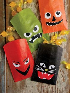 Martha Stewart Halloween Treat Bags - these would be easy to make with acrylic paint