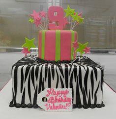 Pink, green and zebra-print 9th birthday cake!