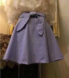 Fashion cute striped bow skirt