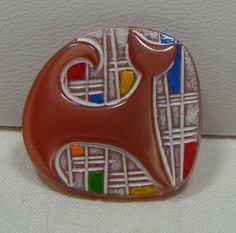 Modern Cat Czech Glass Button by MostlyButtons on Etsy