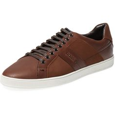 Hugo Boss Hugo Boss Men's Acrest Low Top Sneaker - Dark Brown - Size 8 (13.710 RUB) ❤ liked on Polyvore featuring men's fashion, men's shoes, men's sneakers and dark brown