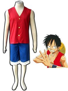 For Adult Halloween Costumes Always Buy Good Collection Here Anime One Piece Monkey D Luffy Cosplay Costume Full Set Uniform Top + Shorts