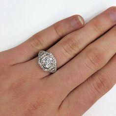So Deco and oh so gorgeous!! #artdeco #vintage #inspired #antique #step #Asscher #diamond #sparkle #love #unique #want #engagement #weddingring #instajewels #special #saturday #dtla #singlestone @singlestonemissionstreet