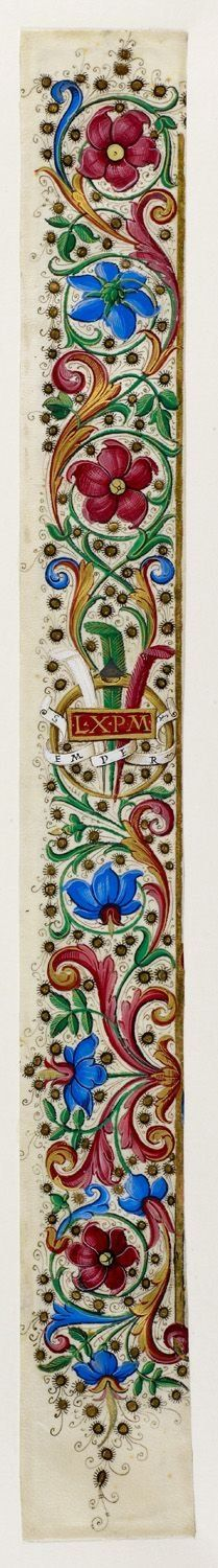 A section of foliate border of the Medici device of a diamond ring with three feathers, the motto 'Semper' and the initials 'L. X. P. M.', measuring 410 x 50 mm. Origin: Italy, Central (Florence or Rome)