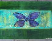 SOLD Hand Painted Canvas Floor Cloth Runner, Smiling Butterfly with Deep Green Border