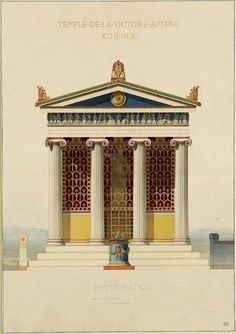 Temple of the Wingless Victory - Athens. Louis Philippe Francois Boitte. French 1830-1906. watercolor. http://hadrian6.tumblr.com