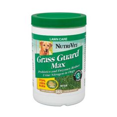 """$21.45-$24.99 Nutri-Vet Grass Guard Max with Probiotics and Digestive Enzymes, 365 count - Dog urine and lawns don't always mix well. The fundamental problem is that urine is a waste product containing excess nitrogen resulting from the natural metabolism of protein within the body. When dogs urinate on grass, urinary nitrogen mixes with the nitrogen already present in the soil and """"burns"""" the gr ..."""