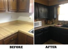 Happy Friday: Frugal Kitchen Makeover – Hip2Save.  Notice we did not get a close up of the counter top after. :(  But, my counter is fine.  Might paint the cabinets one day though.