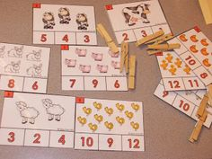 Free Count and Clip farm themed cards. math, prek, kindergarten, math centers, counting, free, farm