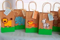 Zoo animal favor bags, Birthday party favor bags, Jungle animal party favors bags, Baby Shower favors, on Etsy Jungle Theme Birthday, Jungle Theme Parties, Safari Birthday Party, Animal Birthday, Baby Party, Birthday Party Favors, 2nd Birthday Parties, Jungle Party, Safari Theme