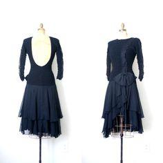 backless black dress  vintage 1980's / Ballet Leotard by AgeofMint, $86.00