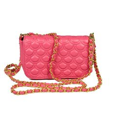 Hot Pink Quilted Flap Clutch by Big Buddha