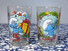 Lot-2-verres-moutarde-AMORA-1996-Peyo-Schtroumpfs-farceur-musicien-annees-90…
