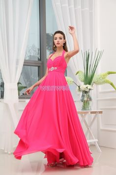 Floor Length Halter Plus Size Red Chiffon Evening Dress With Beading And Shirring(ZJ5466)