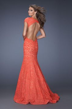 Lace Backless Cap Sleeves Coral Prom Dress