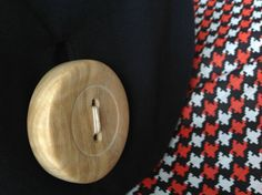 Arriettys bag, Black canvas shoulder bag, Giant handmade Wooden Button, Vintage Houndstooth black, red and white fabric lining, zip pocket on Etsy, $250.00 AUD Handmade Wooden, Handmade Gifts, Canvas Shoulder Bag, Black Canvas, White Fabrics, Aud, Houndstooth, Stitches, Red And White