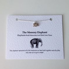 Necklace: Silver Elephant Memory Charm Necklace. Best Friend Necklace Bridesmaid Necklace Memory Elephant Necklace. Wedding Favours! by PetitePolly (4.99 GBP)