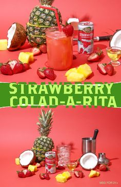 This easy, fun cocktail is a fiesta favorite! 1) Combine pineapple, coconut milk and agave syrup in a shaker with ice and shake vigorously. 2) Add Straw-Ber-Rita and strain into a glass with ice. 3) Garnish and serve.
