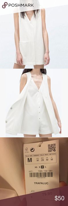 """ZARA Trafaluc White Crossover Front Short Jumpsuit This gorgeous, crisp romper is brand new with tags. Abalone button closures throughout, large pocket in front.   31"""" long  18.5"""" armpit to armpit   Ships from Hawaii  No trades  Reasonable offers welcome  Bundle & save  Zara Pants Jumpsuits & Rompers"""