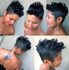 Pretty edgy chick 💀💄💋💋💋 Haircut/Style by: Stephanie Anderson Edgy Short Hair, Short Black Hairstyles, Short Hair Cuts, Bob Hairstyles, Black Pixie Haircut, Haircuts, 27 Piece Hairstyles, Short Pixie, Curly Hair Styles