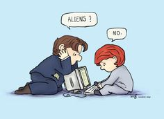 Mulder and Scully, Peanuts edition. This is, literally, the entirety of the show. Aliens, X Files, Cinema Tv, Dana Scully, Gillian Anderson, Filing, Reylo, Favorite Tv Shows, Favorite Things