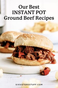 Our favorite Instant Pot ground beef recipes all in one place! Plan your menu using these delicious recipes that come together in minutes. Freezer Meals, Easy Meals, Beef Meals, Crockpot Meals, Potted Beef Recipe, Sloppy Joes Recipe, Recipe Details, Pressure Cooker Recipes, Slow Cooker