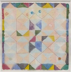 Alan Shields Colors in Clay, 1988 Watercolor, stitching on handmade paper 18 x 18 inches (45.7 x 45.7 cm)
