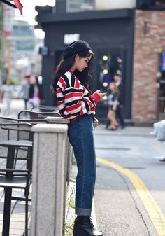stripes, jeans and a beret