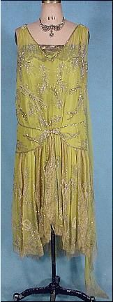 c. 1928 Chartreuse Silk Chiffon Silver Beaded, Rhinestone and Pearl Flapper Dress