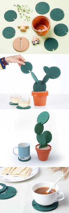 Cactus Coasters Set by Designer Clive Roddy on Etsy is a clever way to store your coasters when they're not in use.