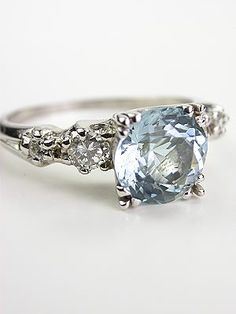 My dream ring:Vintage Platinum Aquamarine Engagement Ring Pretty Rings, Beautiful Rings, Aquamarin Ring, Antique Jewelry, Vintage Jewelry, Antique Rings, Aquamarine Jewelry, Aquamarine Wedding, Aquamarine Engagement Rings