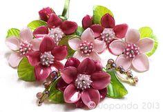 JOPANDA lampwork Beads handmade SRA - Hibiscus Pink& Rosé