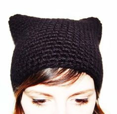 cat beanie, bonnet chat tuto!  bonnet carré ( 45mailles )