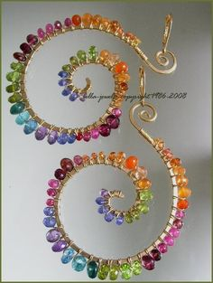 Colorful wire wrapped earrings
