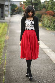 Red, black, white & black print. Plus this twirly red skirt in general.