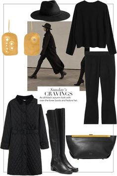 Sunday's Cravings: All-Black Autumn Look Casual Winter Outfits, Winter Fashion Outfits, Autumn Winter Fashion, Wardrobe Sets, Fall Wardrobe, Minimalist Winter Outfit, Mode Dope, Outfit Chic, Over The Knee