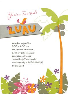 Hawaiian Party Invitation Template Lovely Tropical Invitation Luau In 2019 Hawaiian Invitations, Luau Birthday Invitations, Free Printable Party Invitations, Personalized Invitations, Invitation Templates, Shower Invitations, Wedding Invitations, Hawaiian Luau Party, Hawaiian Theme