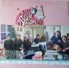 Christmas layout with old Basic Gray paper and Pinkfresh Let it Snow chipboard and AFlairforButtons