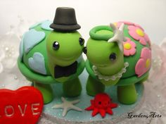 Happy Turtle Love Wedding Cake Topper with Special Patterns Design. $69.00, via Etsy.