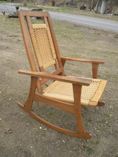Good Shape Vintage Mid Century Danish Modern ROPE ROCKER ROCKING Chair Pick  Up Only By Score571