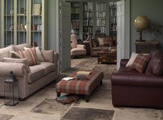 Rochester Large Sofa in Warwick Habitat Jute fabric, £1,739; Universal Grande Footstool in Linwood Hudson Bay Maple Check fabric, £539; Imog...