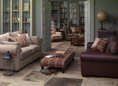 Rochester Large Sofa in Warwick Habitat Jute fabric, £1,739; Universal Grande Footstool in Linwood Hudson Bay Maple Check fabric, £539; Imog...