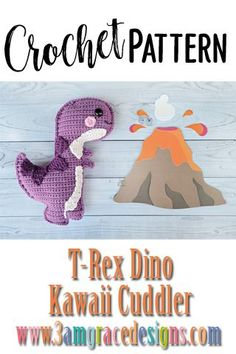 Our T-Rex Dinosaur crochet pattern & tutorial makes an adorable pillow for you or your favorite dino lover. How To Crochet A T-Rex Dinosaur Amigurumi Pillow With Rosy Kawaii Cheeks And Smile! Our T-Rex Dinosaur Crochet Pattern Works Up Quickly! Crochet Dinosaur Patterns, Crochet Patterns Amigurumi, Crochet Dolls, Crocheted Toys, Crochet For Kids, Crochet Baby, Free Crochet, Amigurumi Animals, Crochet Animals
