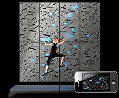 Nova Climbing Wall by Lunar - The wall includes panels with pattern-cut-outs, which replace the colored holds of regular training walls. Climbing routes, difficulty levels and routes are flexibly indicated through light and can be selected via the Smartphone App. Read more at http://www.yankodesign.com/2014/03/03/walls-to-climb/#E9RZ1jQ6QYrxKj1h.99